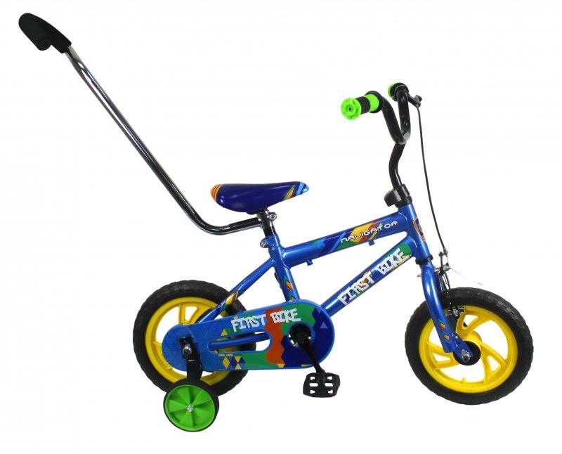 Купить Детский велосипед - First Bike, колеса 12 дюйм, рама сталь, вилка сталь, тормоз на руле с небольшим усилием, покрышки EVA, пластиковые обода, страховочные колеса, Navigator