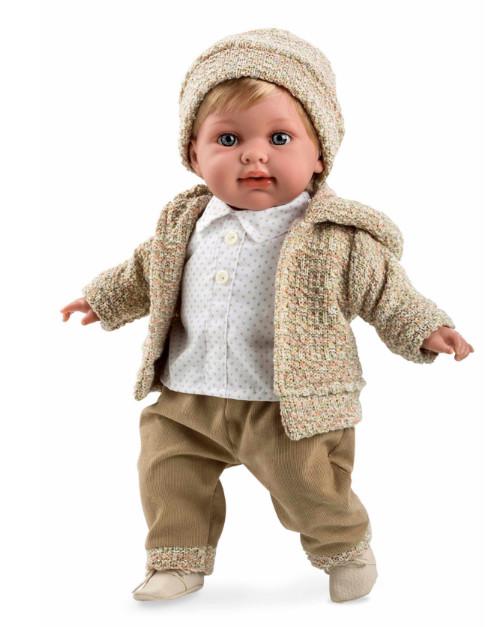 Интерактивная кукла из коллекции Elegance, 42 см, с мягким телом, в бежевой одежде, мальчик, с соской, смеется