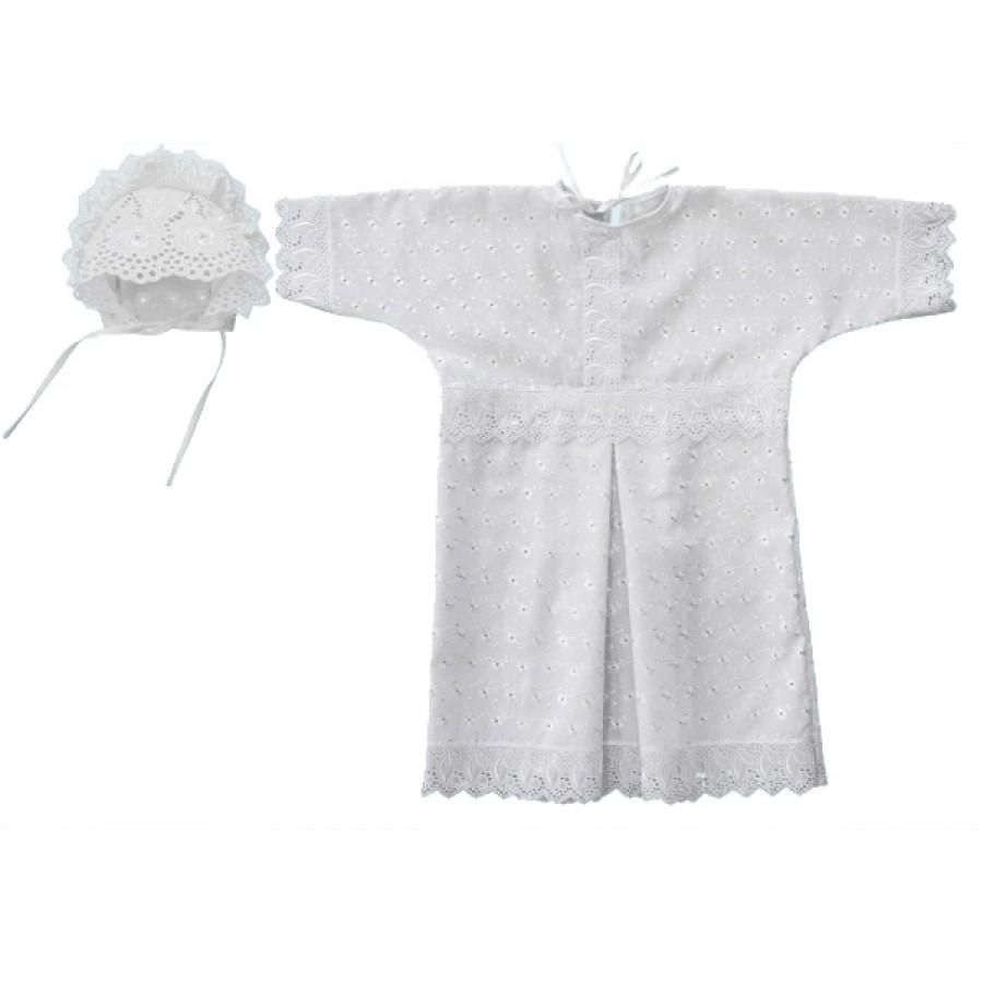 Крестильная рубашка и чепчик для мальчика, белые от Toyway