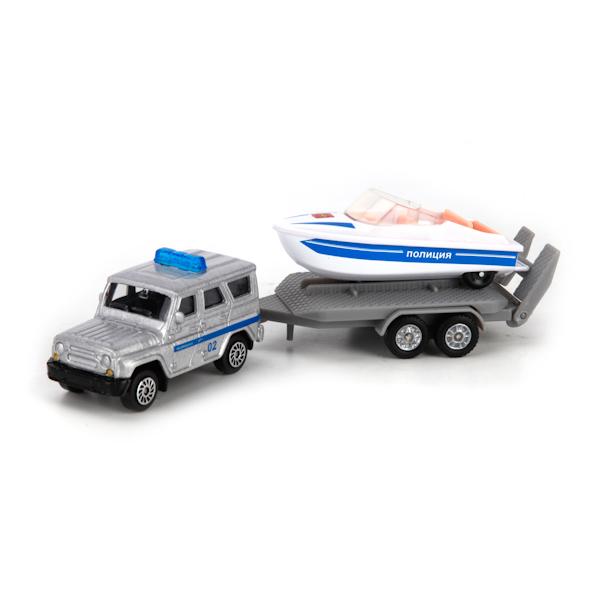 Купить Коллекционный металлический набор - Полиция, УАЗ с лодкой на прицепе, Технопарк