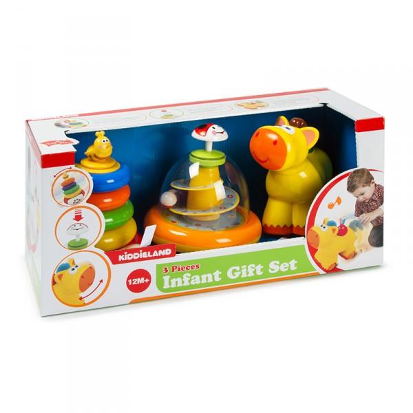 Развивающий набор - юла, пирамида, каталкаРазвивающие игрушки KIDDIELAND<br>Развивающий набор - юла, пирамида, каталка<br>