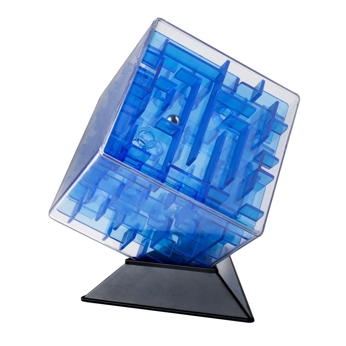 Головоломка из серии Лабиринтус - Куб, 10 см., синий, прозрачныйГоловоломки<br>Головоломка из серии Лабиринтус - Куб, 10 см., синий, прозрачный<br>
