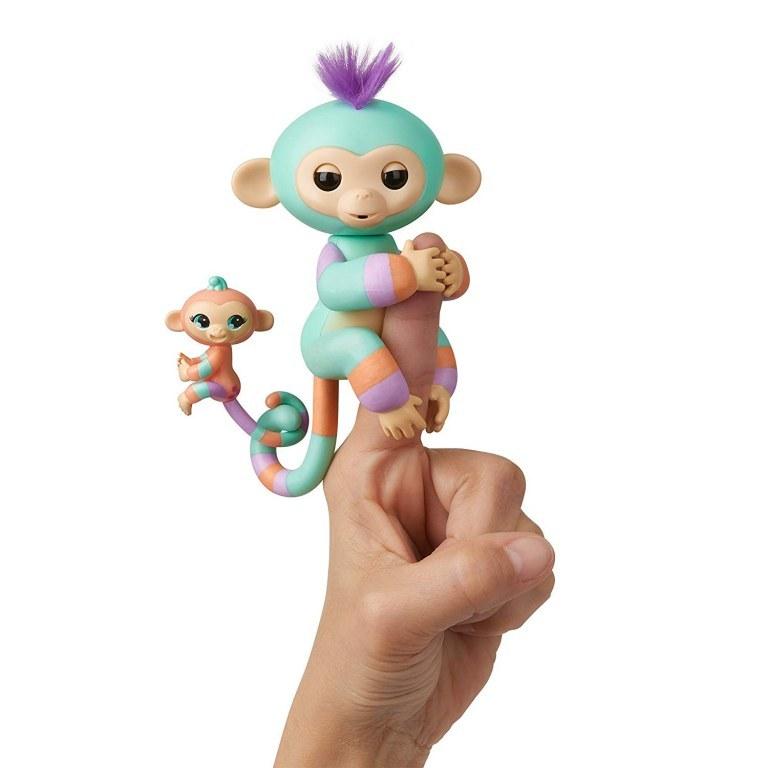 Купить Интерактивная обезьянка Денни с малышом, 12 см, WowWee