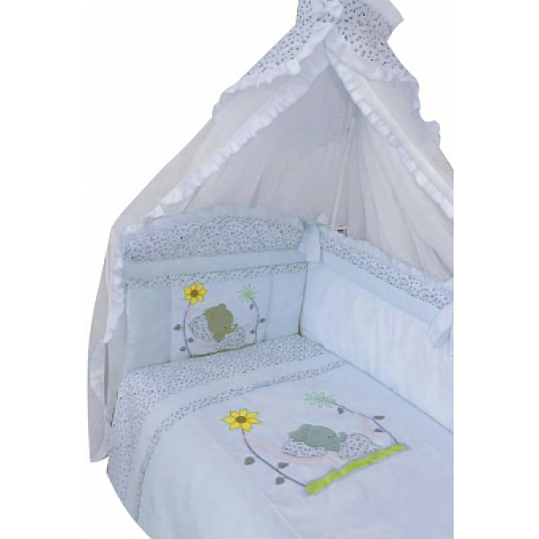 Комплект в кроватку – Сладкий сон, 7 предметов, голубойДетское постельное белье<br>Комплект в кроватку – Сладкий сон, 7 предметов, голубой<br>