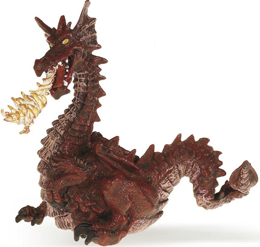 Купить Игровая фигурка - Красный дракон с пламенем, Papo