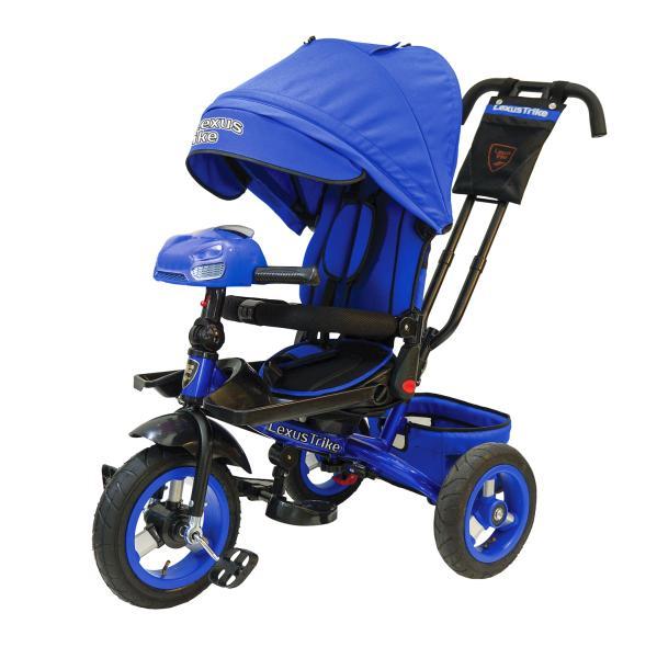 Купить Велосипед 3-х колесный - Lexus Trike, надувные колеса диаметром 30 и 25 см, светомузыкальная панель, складной руль, цвет - синий