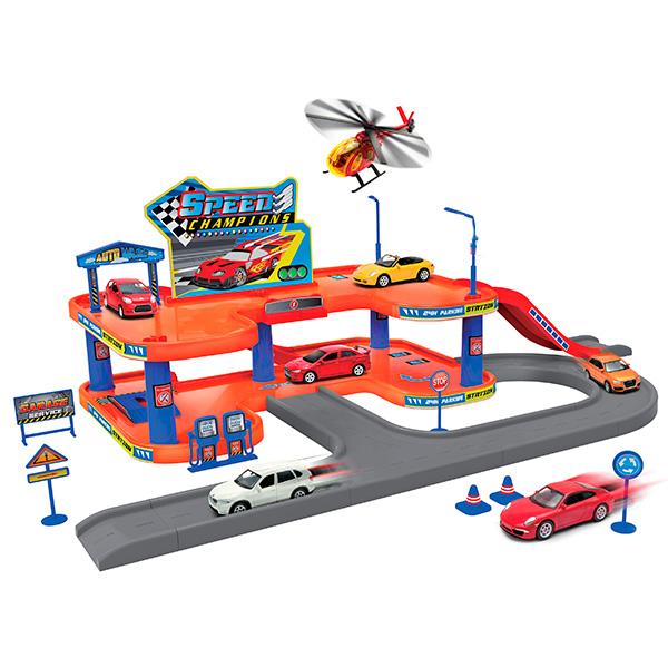 Игровой набор Гараж - 3 машины и вертолетДетские парковки и гаражи<br>Игровой набор Гараж - 3 машины и вертолет<br>