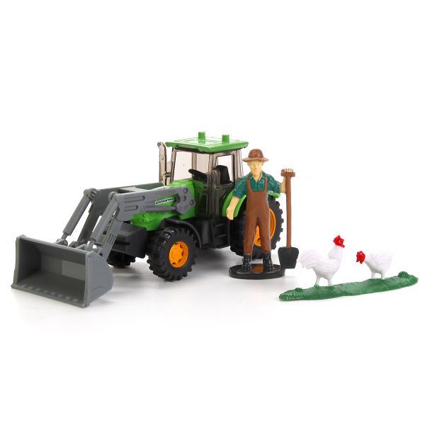 Купить Трактор металлический 1:64, 13 см, с аксессуарами, Технопарк