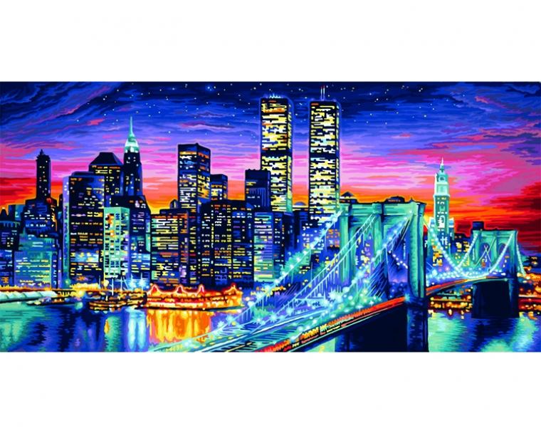 Купить Раскраска по номерам - Ночной Манхеттен, 40 х 80 см, Schipper
