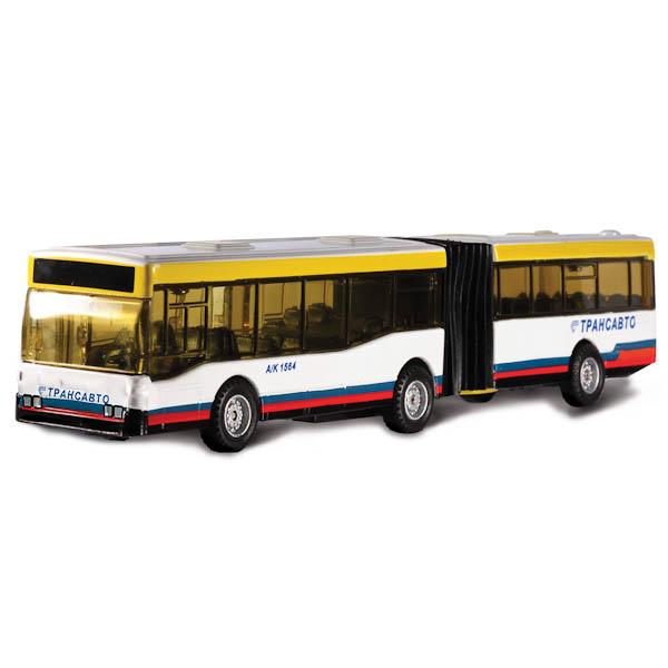 Купить Металлический инерционный автобус с резиновой гармошкой и открывающимися дверями, 18 см sim), Технопарк