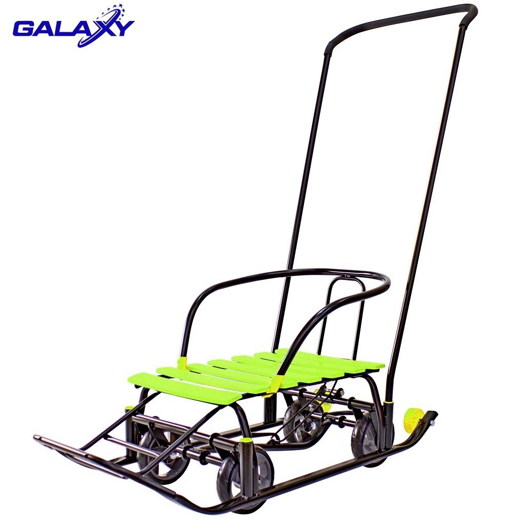 Снегомобиль на больших мягких колесах - Snow Galaxy Black Auto, лимонные рейкиСанки и сани-коляски<br>Снегомобиль на больших мягких колесах - Snow Galaxy Black Auto, лимонные рейки<br>