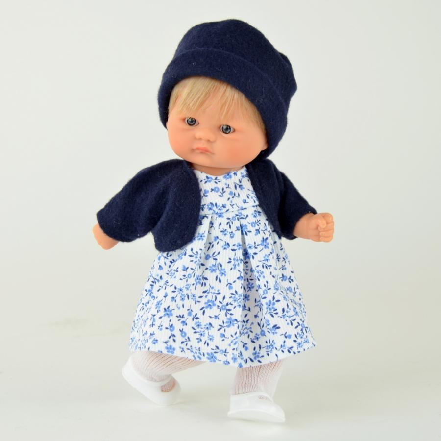 Кукла пупсик в темно-синем болеро, 20 см.Куклы ASI (Испания)<br>Кукла пупсик в темно-синем болеро, 20 см.<br>