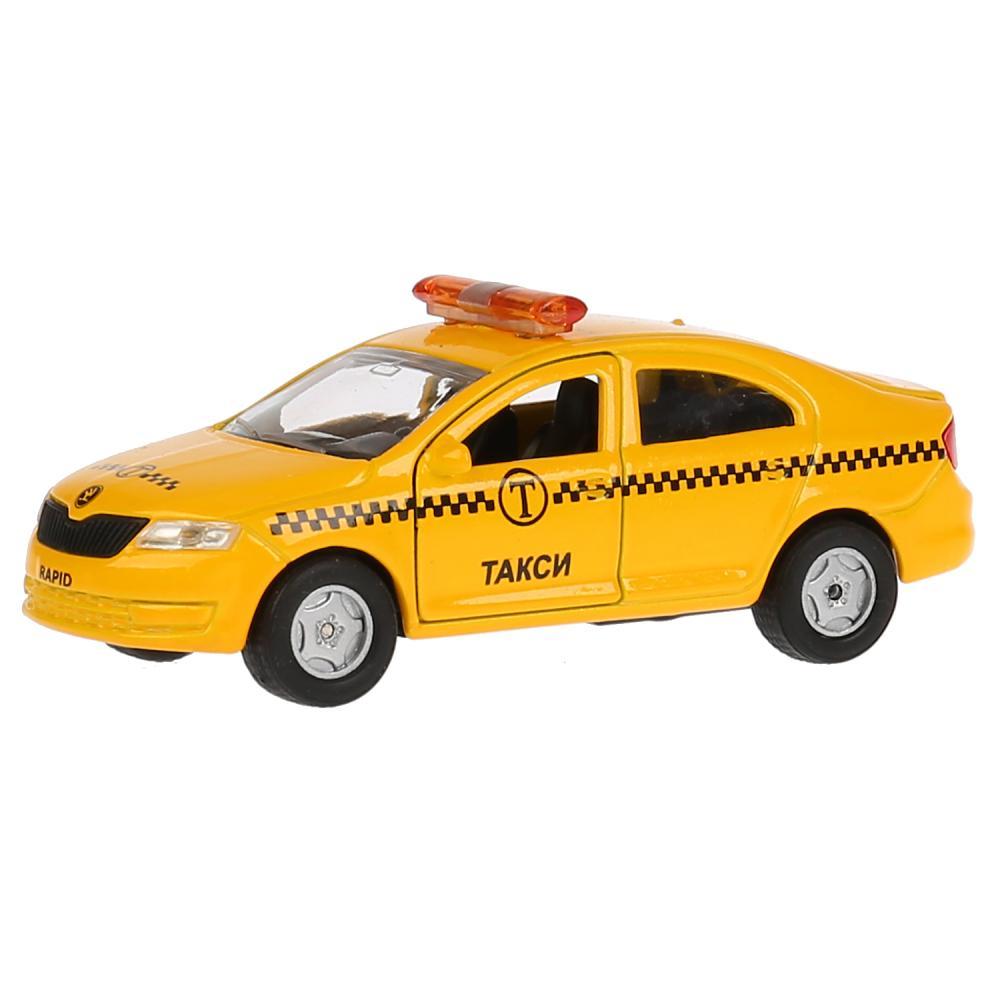 Купить Skoda Rapid Такси - машина металлическая, 12 см, открываются двери, инерционная, Технопарк