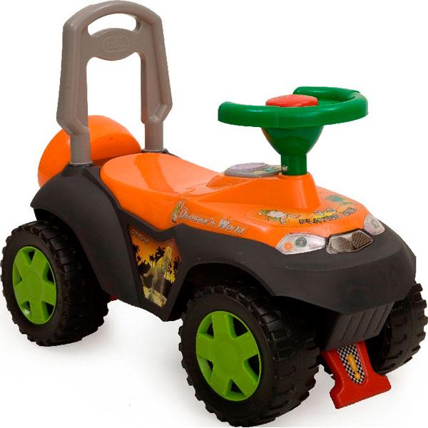 Детская оранжевая каталка со звуковыми и световыми эффектами Dinosauros World TolocarМашинки-каталки для детей<br>Детская оранжевая каталка со звуковыми и световыми эффектами Dinosauros World Tolocar<br>
