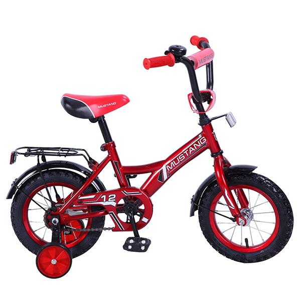 Велосипед детский - Mustang, красно-черный со страховочными колесамиВелосипеды детские<br>Велосипед детский - Mustang, красно-черный со страховочными колесами<br>