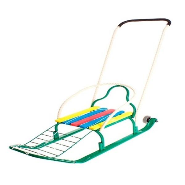 Санки Кирюша-4К зеленые, со съемными обрезиненными колесами и толкателем - Зимние товары, артикул: 174094
