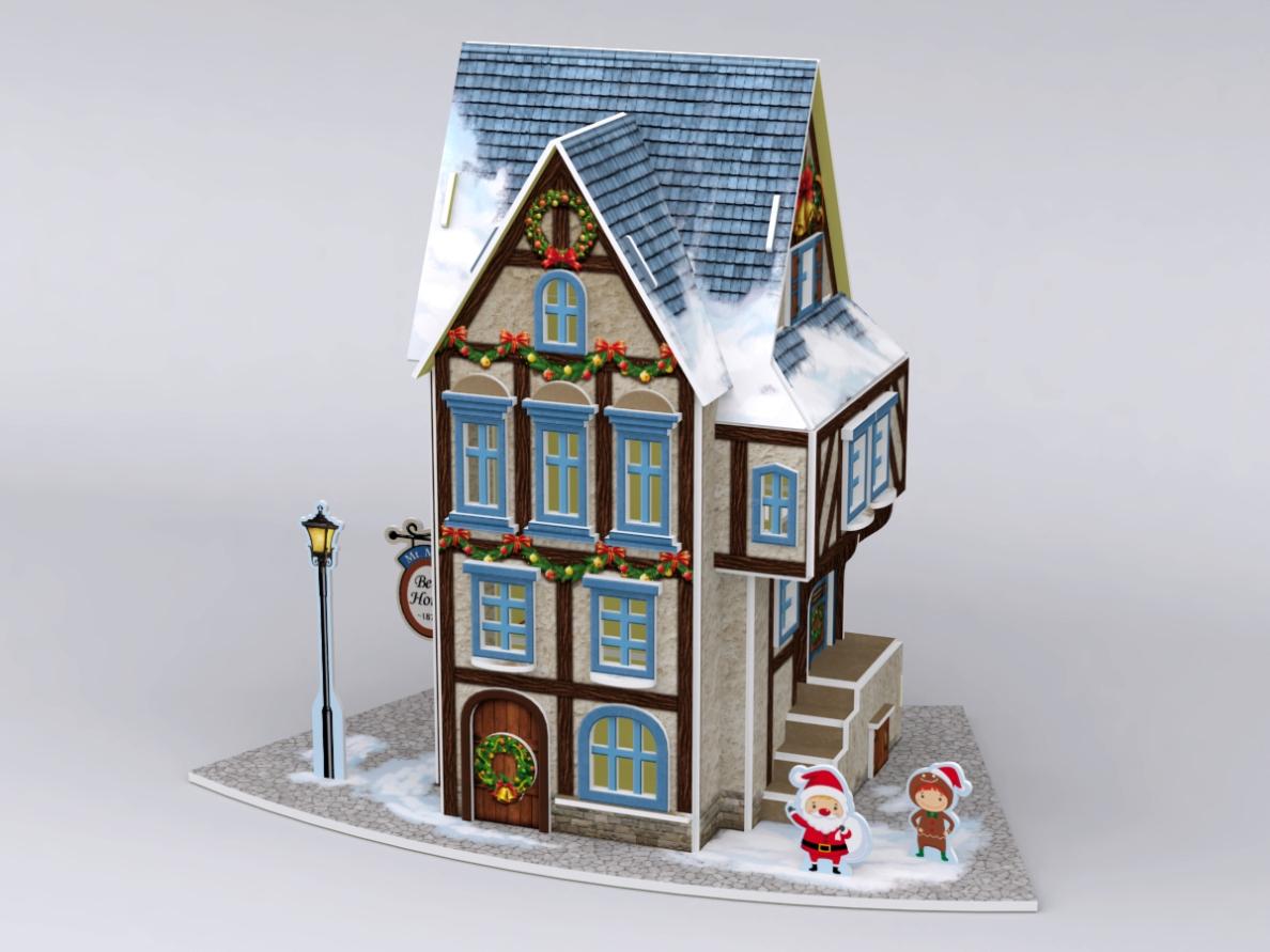 Рождественский коттедж 4, с подсветкойПазлы объёмные 3D<br>Рождественский коттедж 4, с подсветкой<br>