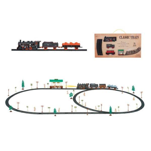 Железная дорога со световыми эффектами - Classic Train, 71 деталь (Shantou,  B1483759simДетская железная дорога<br>Железная дорога со световыми эффектами - Classic Train, 71 деталь (Shantou,  B1483759sim<br>