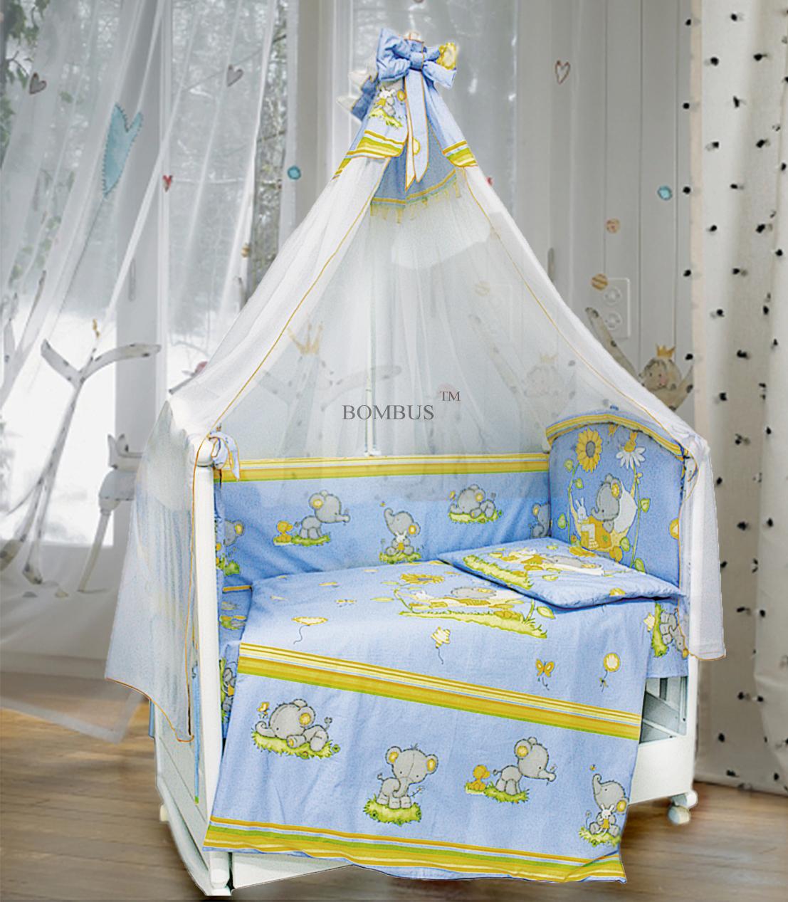 Комплект в кроватку - Слоники, 7 предметов, голубойДетское постельное белье<br>Комплект в кроватку - Слоники, 7 предметов, голубой<br>