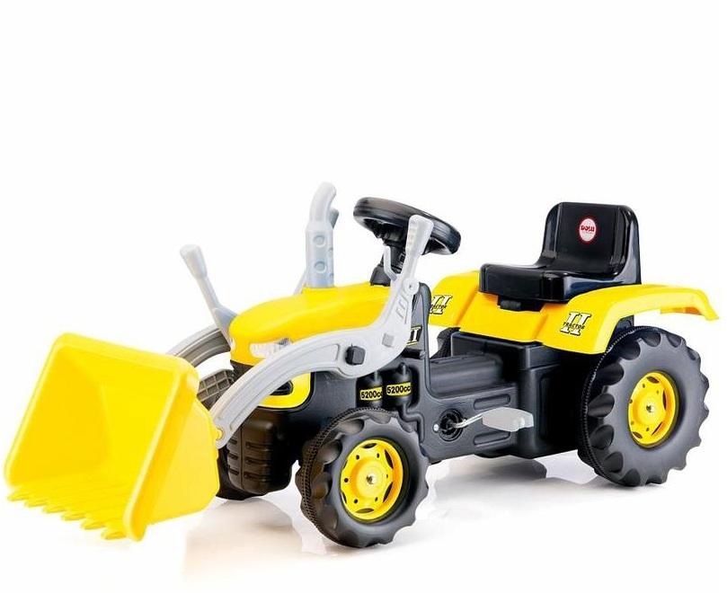 Педальный трактор-экскаватор, желто-черный