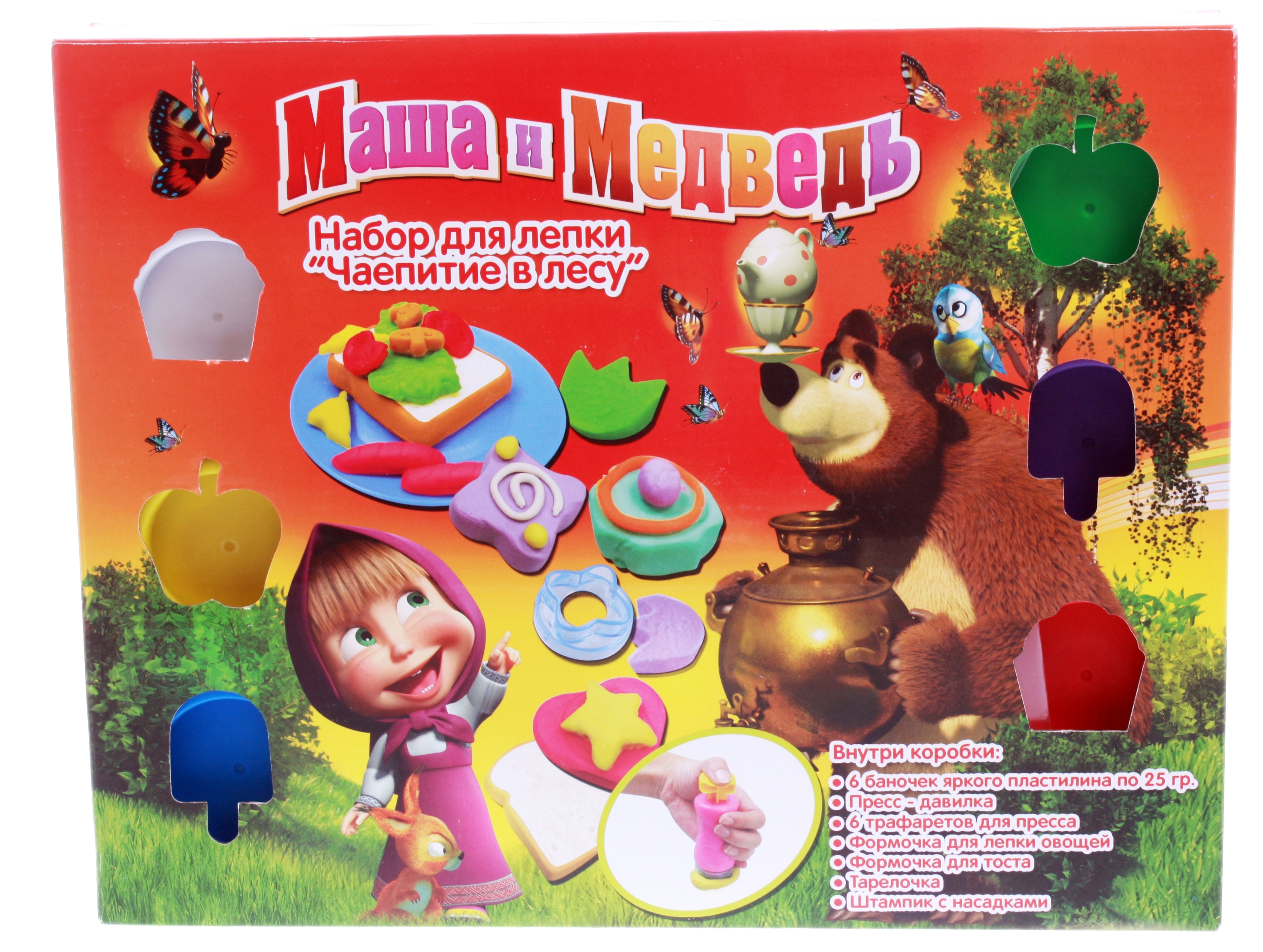 Набор пластилина «Чаепитие в лесу» из серии Маша и МедведьМаша и медведь игрушки<br>Набор пластилина «Чаепитие в лесу» из серии Маша и Медведь<br>