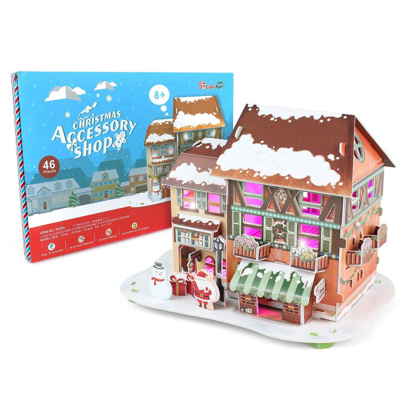 Купить 3D-пазл с подсветкой - Рождественский домик 4, 46 деталей, Cubic Fun
