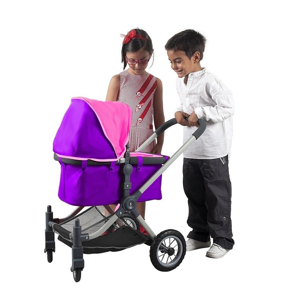 Кукольная коляска RT цвет фуксия+серый 603
