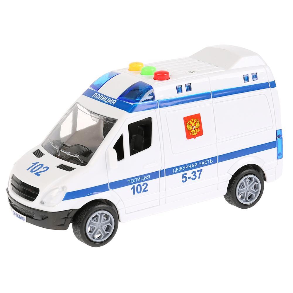 Купить Машина – микроавтобус Полиция, длина 15, 5 см., пластик, инерционная, свет и звук, Технопарк