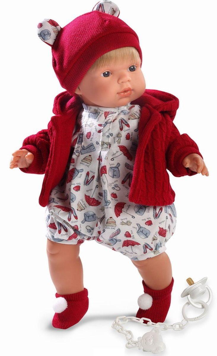 Кукла Саша в красной кофточке, 38 см.Испанские куклы Llorens Juan, S.L.<br>Кукла Саша в красной кофточке, 38 см.<br>