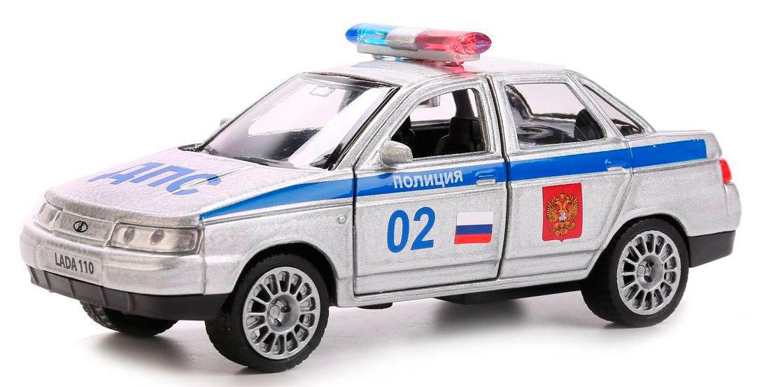 Купить Машина металлическая инерционная – Лада 110 Полиция, 12 см, открываются двери, Технопарк