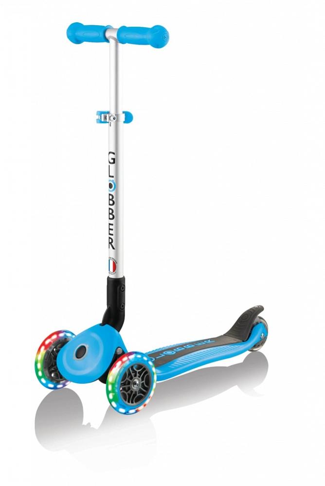 Купить Самокат трехколесный Globber Primo Foldable Lights - голубой
