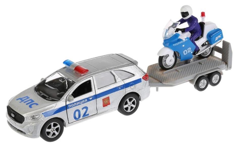 Купить Металлическая инерционная машина - Kia Sorento Prime Полиция, 12 см + Мотоцикл 7, 5 см, Технопарк