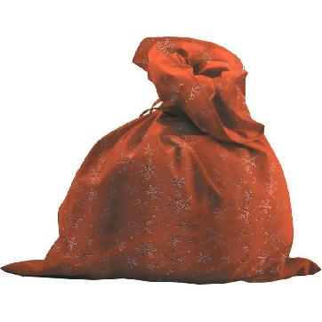 Мешок Деда Мороза, красный со снежинками, сатин