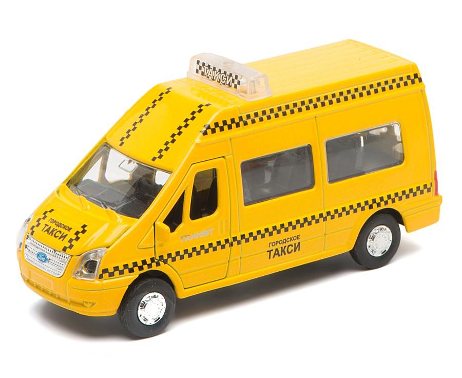 Купить Машина металлическая инерционная Ford Transit - Такси со светом и звуком, Технопарк