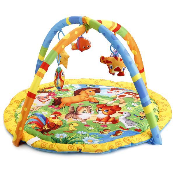 Купить Коврик детский - Домашние животные, с мягкими игрушками на подвеске, в сумке, Умка