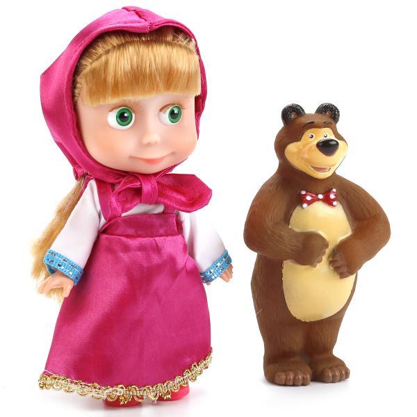 Купить Интерактивная кукла Маша и Медведь – Маша, 15 см с Мишкой sim), Карапуз