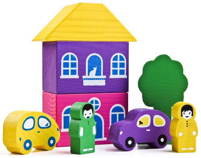 Конструктор - Цветной городок, фиолетовыйКубики<br>Конструктор - Цветной городок, фиолетовый<br>