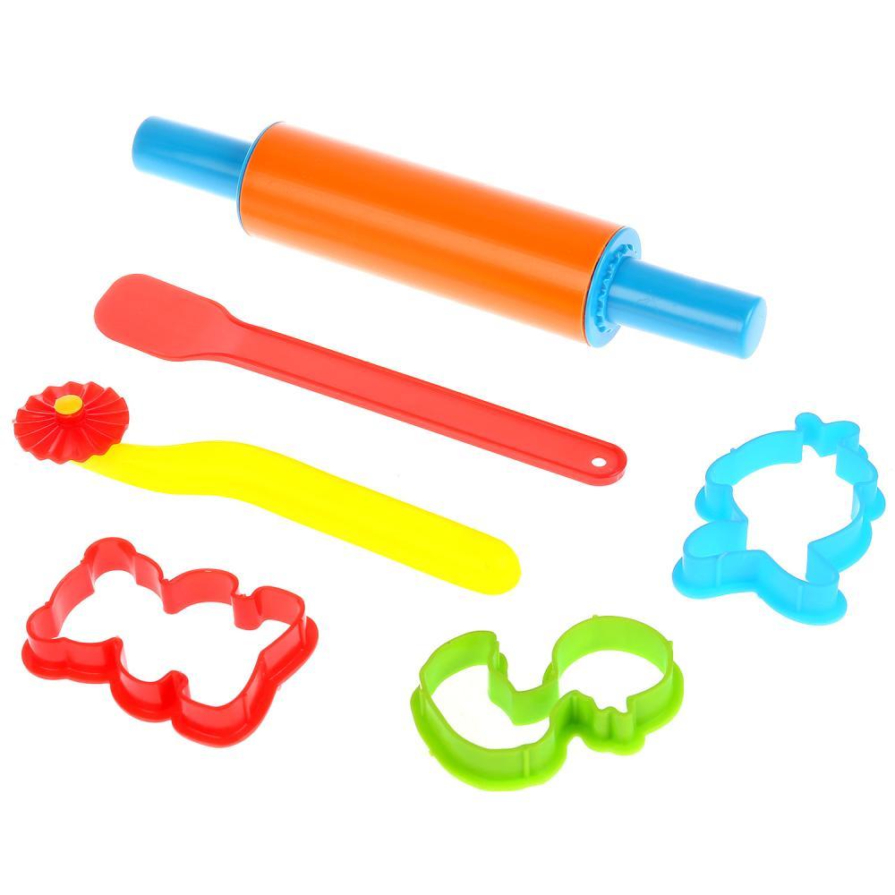Купить Набор аксессуаров для лепки: валик, фигурный нож, лопатка, 3 формочки, Multiart