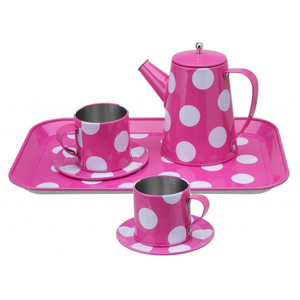 Чайный набор розовый в горошекАксессуары и техника для детской кухни<br>Чайный набор розовый в горошек<br>