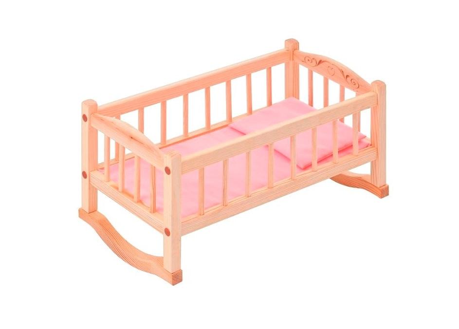 Деревянная кроватка-люлька для кукол, розовый текстильДетские кроватки для кукол<br>Деревянная кроватка-люлька для кукол, розовый текстиль<br>