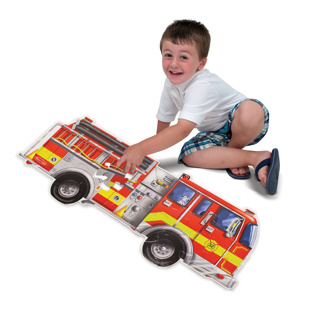 Напольный пазл - Пожарная машина, 24 элементаКоврики-пазлы<br>Напольный пазл - Пожарная машина, 24 элемента<br>