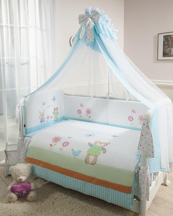 Комплект постельного белья Глория, голубойДетское постельное белье<br>Комплект постельного белья Глория, голубой<br>