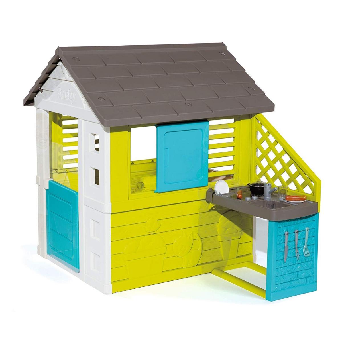 Купить Игровой домик с кухней, синий, 145 х 110 х 127 см, Smoby