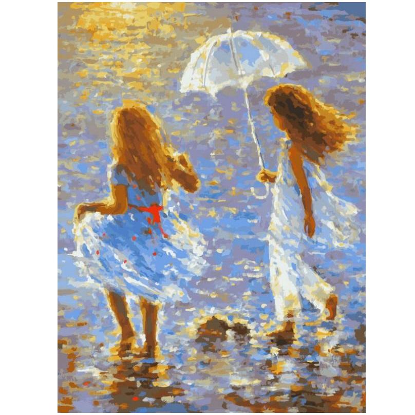 Купить Раскраска по номерам – Прогулка, размер 40 х 30 см., Белоснежка