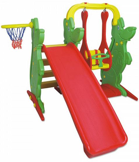 Игровой комплекс – Качели, горка и баскетбольное кольцоДетские игровые горки<br>Игровой комплекс – Качели, горка и баскетбольное кольцо<br>