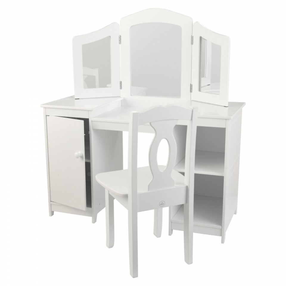Белый деревянный туалетный столик-трельяж для девочек Deluxe Vanity & Chair - Юная модница, салон красоты, артикул: 160292