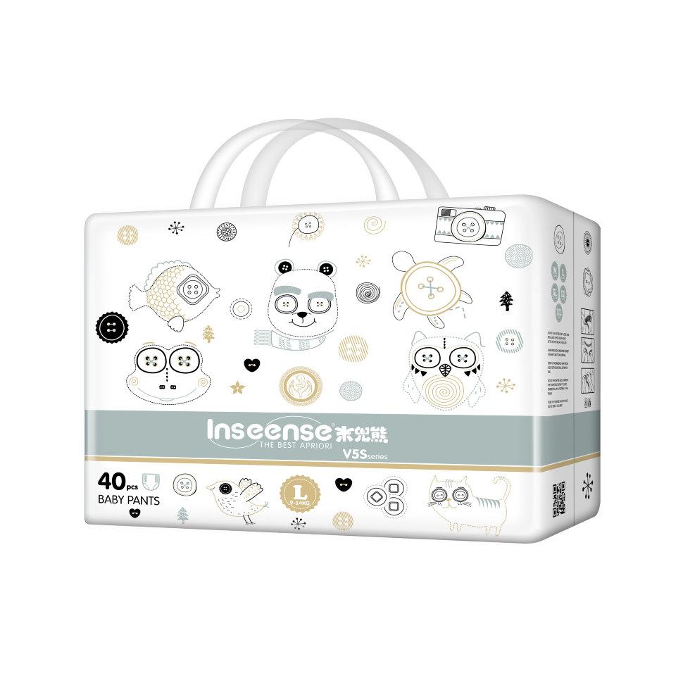 Трусики-подгузники Inseense V5S, 9-14 кг, 40 штук, L, салатовая упаковка