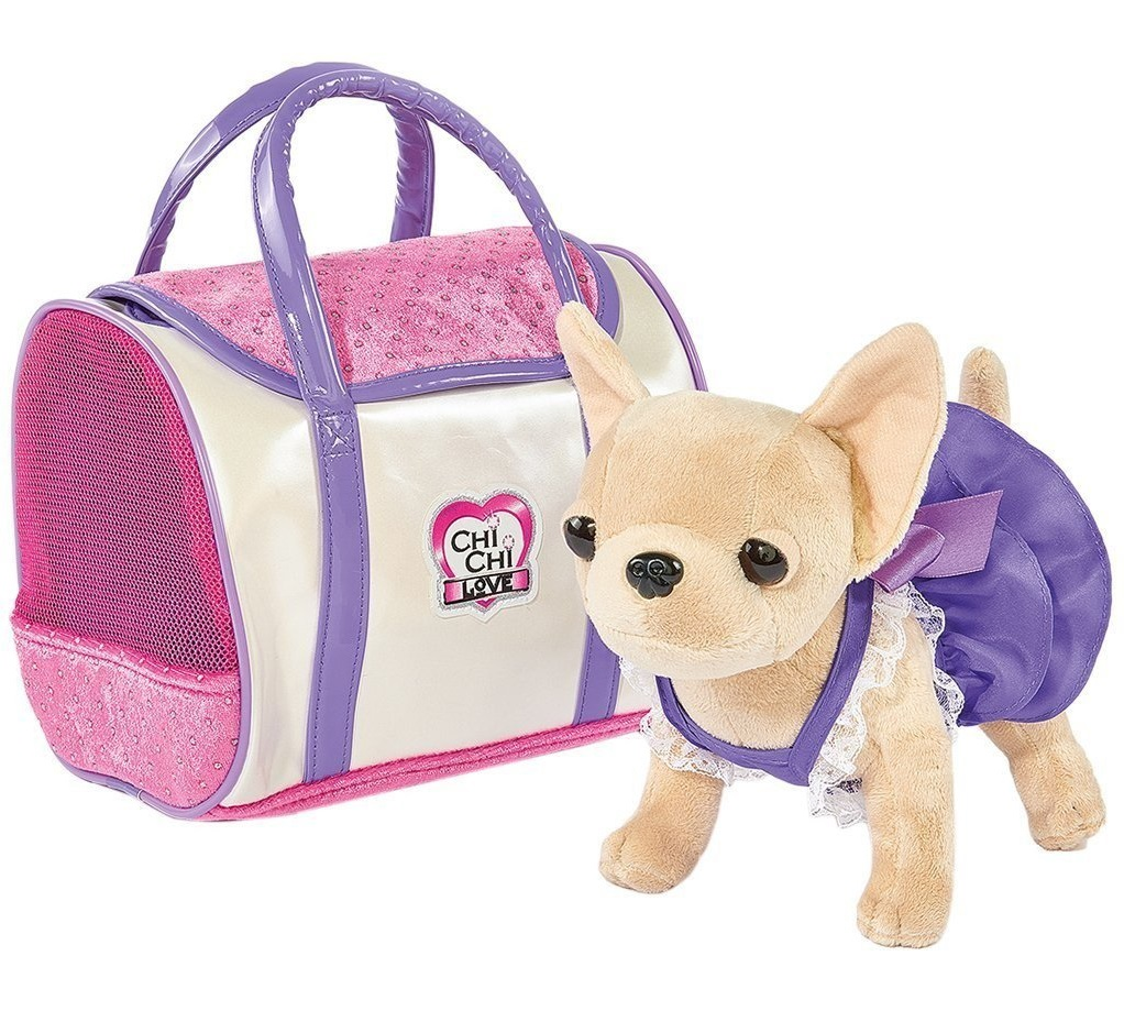 Плюшевая собачка Чихуахуа из серии Chi Chi Love в платье, с сумкой, 20 см.Chi Chi Love - cобачки в сумочке<br>Плюшевая собачка Чихуахуа из серии Chi Chi Love в платье, с сумкой, 20 см.<br>