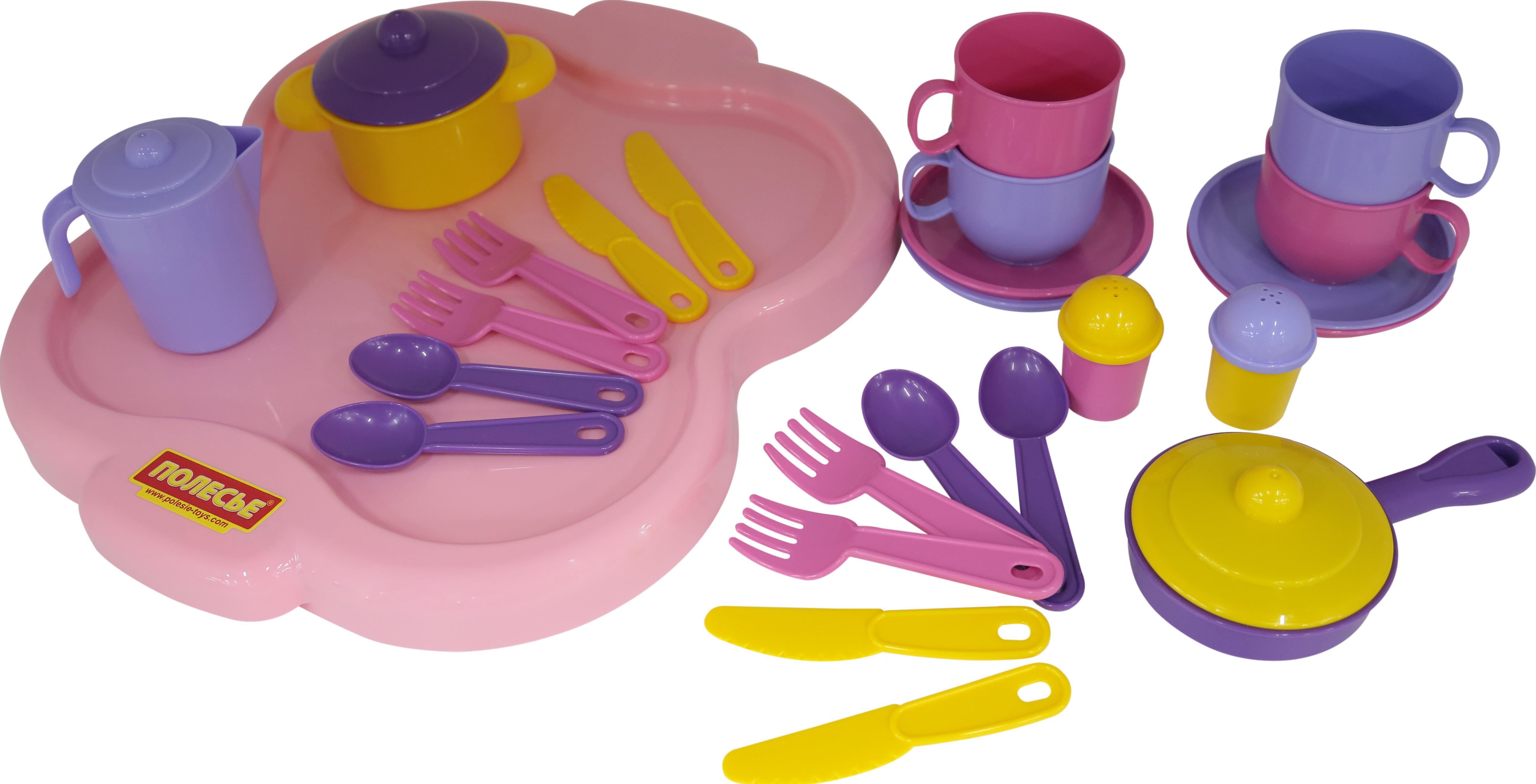 Набор детской посуды Янина с подносом, на 4 персоныАксессуары и техника для детской кухни<br>Набор детской посуды Янина с подносом, на 4 персоны<br>
