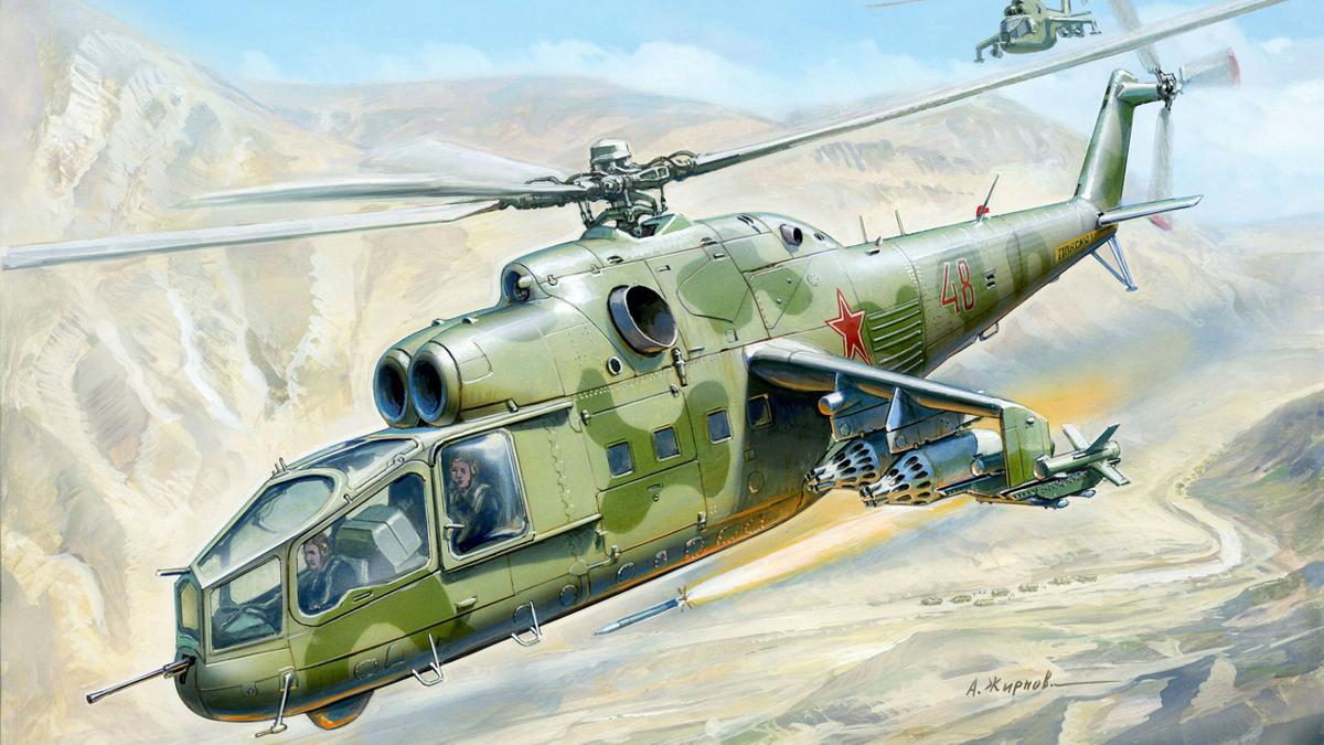 Модель для склеивания - Советский ударный вертолёт Ми-24АМодели вертолетов для склеивания<br>Модель для склеивания - Советский ударный вертолёт Ми-24А<br>